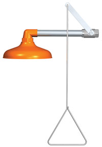 Guardian G1643: Emergency Drench Shower, Horizontal Supply, With 10inch Diameter Safety Orange ABS Plastic Shower Head and Stainless Steel Actuating Arm and 29inch Stainless Steel Pull Rod. ***24 Hour Quickship***