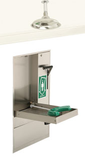 HAWS 8356WCC: AXION MSR RECESSED, BARRIER-FREE, EYE/FACE WASH IN CONTAINMENT TRAY AND VERTICAL SHOWER