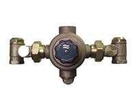 LEONARD LV-982-LF-BDT-CP: THERMOSTATIC MIXING VALVE, LEAD FREE, 1inch INLETS, 1 1/4inch OUTLET, 3 - 63 GPM, CHROME FINISH, WITH CHECKSTOPS, BALL VALVE AND OUTLET DIAL THERMOMETER