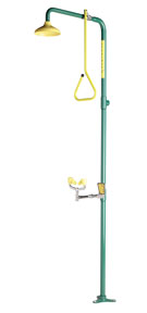 SPEAKMAN SE-675: SHOWER EYEWASH FACE, YELLOW SHOWERHEAD WITH PULL ROD ACTIVATION COMBINES WITH SE-575 EYE WASH, NO BOWL