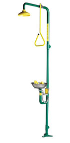 SPEAKMAN SE-690: SHOWER EYE/FACE WASH WITH YELLOW SHOWERHEAD WITH PULL ROD ACTIVATION COMBINES WITH SE-490 EYE/FACE WASH