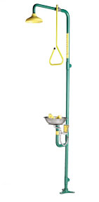 SPEAKMAN SE-693: COMBINATION SHOWER WITH ROUND EYE/FACE WASH, IMPELLER ACTION YELLOW SHOWERHEAD WITH YELLOW PULL ROD ACTIVATION, COMBINES WITH SE-582 EYE/FACE WASH.