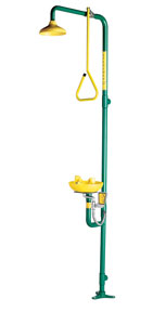 SPEAKMAN SE-695: SHOWER EYE/FACE WASH WITH YELLOW SHOWERHEAD WITH PULL ROD ACTIVATION COMBINES WITH SE-490 EYE/FACE WASH