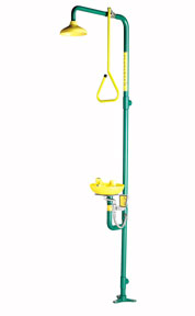 SPEAKMAN SE-697: SHOWER EYE WASH WITH YELLOW SHOWERHEAD WITH PULL ROD ACTIVATION COMBINES WITH SE-580 EYE WASH