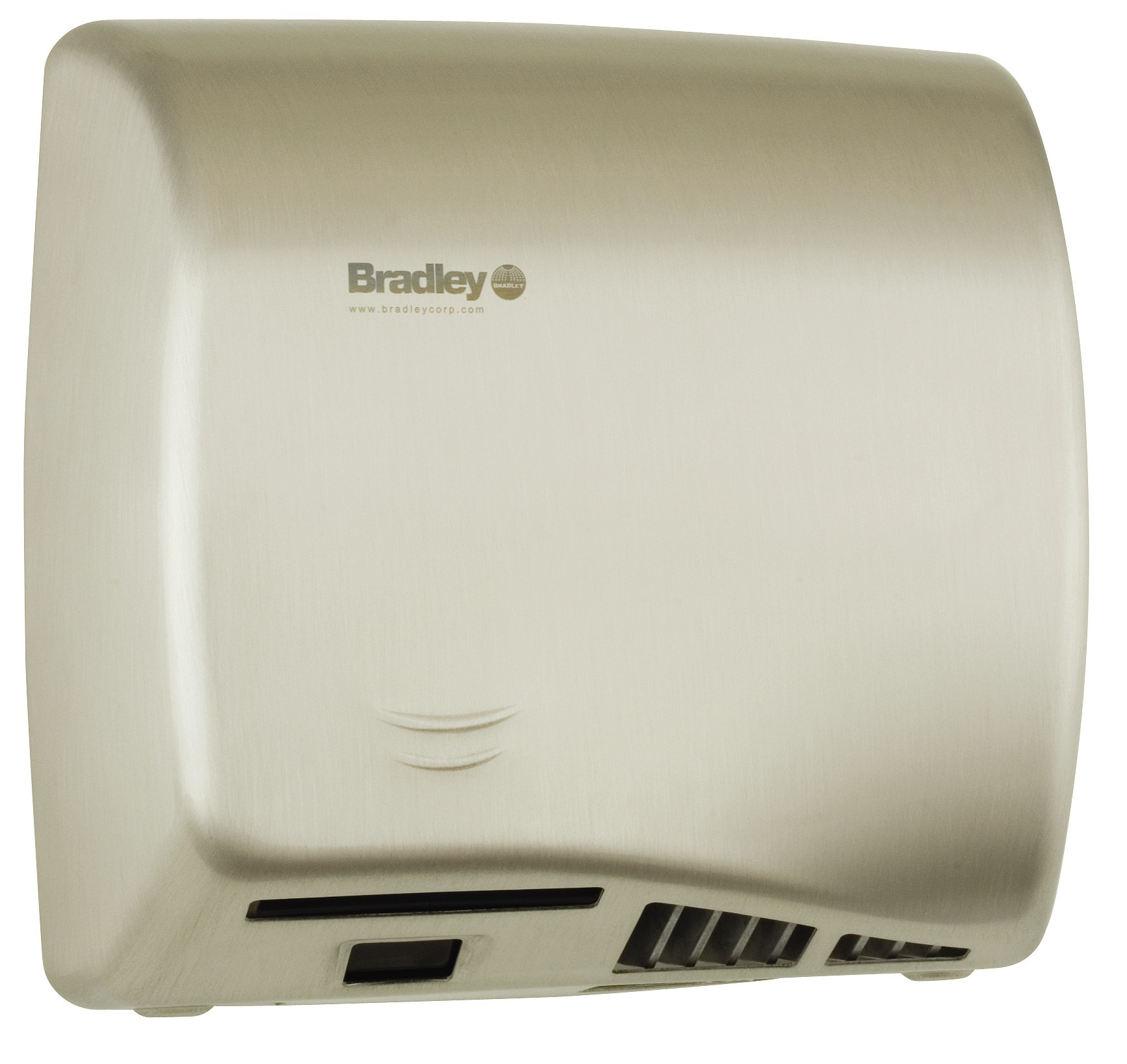 BRADLEY 2902-287400: BX, AERIX HAND DRYER, SURFACE MOUNT, SENSOR-OPERATED (ADJUSTABLE 2inch-8inch), 120-VOLT, 1-PHASE, 9.5-AMPS, 60-HZ, WARM AIR, SATIN STAINESS STEEL, ADA, WITH INTEGRAL NOZZLE, (10-15 SECOND DRYING TIME)