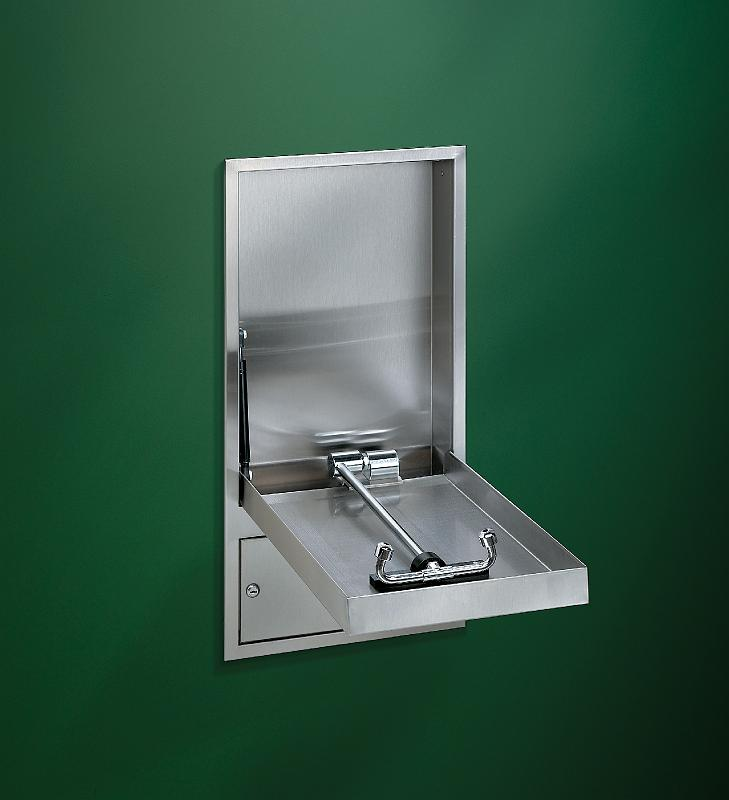 BRADLEY S19294HB: BARRIER-FREE, CABINET MOUNTED, CONCEALED SWING DOWN HALO EYEWASH STATION WITH TAILPIECE