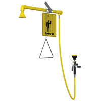 BRADLEY S19-120P: EMERGENCY DRENCH SHOWER, HORIZONTAL SUPPLY, PLASTIC SHOWERHEAD WITH 8' HAND-HELD DRENCH HOSE