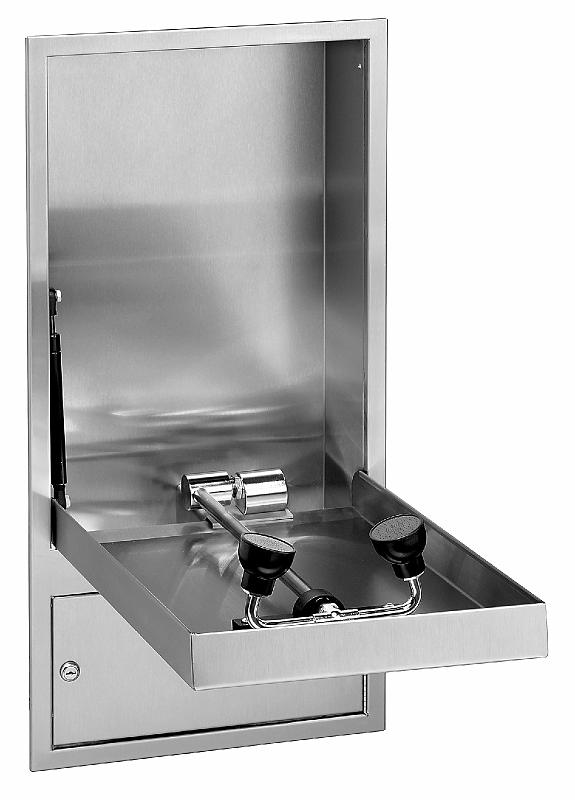 BRADLEY S19294JBT: BARRIER-FREE, CABINET-MOUNTED, CONCEALED SWING-DOWN HALO EYE WASH /FACE WASH STATION WITH P-TRAP
