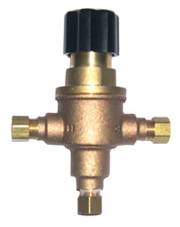 Leonard 170-LF: Temperature Limiting Valve, Lead Free, 3/8inch Compression Inlet/Outlet, 0.5 - 3.0 Gpm, Rough Bronze Finish