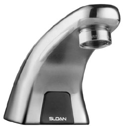SLOAN 3315114, EBF-615-4, BAK CHEK, 0.5 GPM AERATOR, 4inch TRIM PLATE, BATTERY-POWERED, SENSOR OPERATED OPTIMA FAUCET